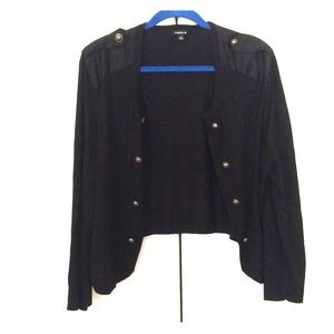 Black military style cardigan from Torrid, size 3.